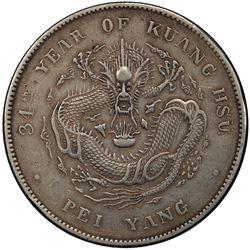 CHIHLI: Kuang Hsu, 1875-1908, AR dollar, Peiyang Arsenal mint, Tientsin, year 34 (1908). PCGS EF45