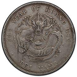 CHIHLI: Kuang-Hsu, 1875-1908, AR dollar, Peiyang Arsenal mint, Tientsin, year 34 (1908). PCGS EF