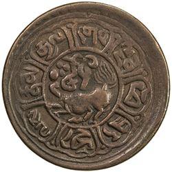 TIBET: AE 5 skar, Mekyi mint, year 15-52 (1918). VF
