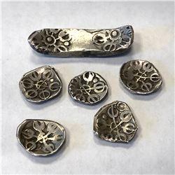 GANDHARA: LOT of 6 coins, (1 bent-bar shatamana and 5 shanas)