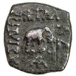 INDO-SCYTHIAN: Azes II, ca. 35 BC to 5 AD, AE square lepton (1.44g). VF