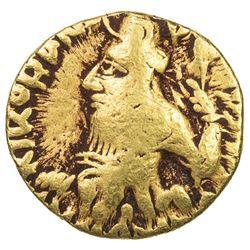 KUSHAN: Kanishka I, ca. 127-152, AV 1/4 dinar (1.96g). F
