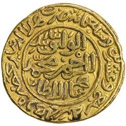 DELHI: Muhammad III b. Tughluq, 1325-1351, AV dinar (12.80g), Hadrat Delhi, AH727. EF