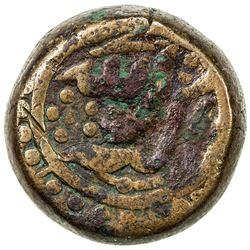 MUGHAL: Akbar I, 1556-1605, AE dam (19.73g), Tatta, IE38. VF