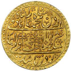 MUGHAL: Shah Alam II, 1759-1806, AV nazarana mohur (10.69g), Shahjahanabad, AH1218 year 46. NGC MS63