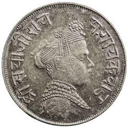 BARODA: Sayaji Rao III, 1875-1938, AR 1/2 rupee (5.66g), VS1851. EF