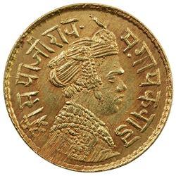 BARODA: Sayaji Rao III, 1875-1938, AV 1/3 mohur (2.37g), VS1952. AU