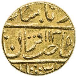GWALIOR: Daulat Rao, 1794-1827, AV mohur (10.82g), Lashkar, frozen year AH1130 year 2. EF-AU