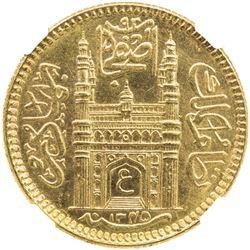 HYDERABAD: Mir Usman Ali Khan, 1911-1948, AV 1/2 ashrafi, AH1345 year 16. NGC MS64