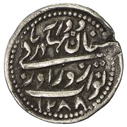 RADHANPUR: Zorawar Khan, 1825-1874, AR 2 annas (1.44g), Radhanpur, 1871//AH1288. VF