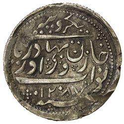 RADHANPUR: Zorawar Khan, 1825-1874, AR rupee (11.54g), Radhanpur, 1870//AH1287. EF