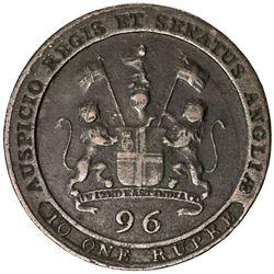 MADRAS PRESIDENCY: George III, 1760-1820, AE 1/96 rupee, 1797. VF