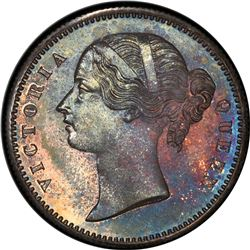 BRITISH INDIA: Victoria, Queen, silver pattern restrike 1/2 rupee, 1849, PCGS PF65 (Proof 65)