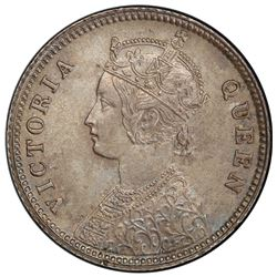 BRITISH INDIA: Victoria, Queen, 1837-1876, AR 1/4 rupee, 1876(c). PCGS MS63