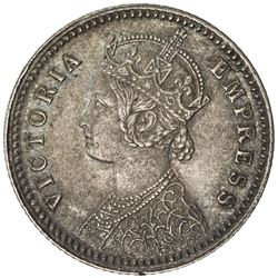 BRITISH INDIA: Victoria, Empress, 1876-1901, AR 1/4 rupee, 1878-C. AU