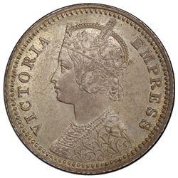 BRITISH INDIA: Victoria, Empress, 1876-1901, AR 1/4 rupee, 1886-C. PCGS MS64