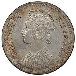 BRITISH INDIA: Victoria, Empress, 1876-1901, AR 1/4 rupee, 1894-C. PCGS AU55