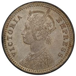 BRITISH INDIA: Victoria, Empress, 1876-1901, AR 1/4 rupee, 1896-C. PCGS MS63