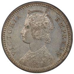 BRITISH INDIA: Victoria, Empress, 1876-1901, AR 1/4 rupee, 1896-C. PCGS AU55