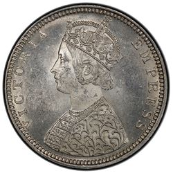 BRITISH INDIA: Victoria, Empress, 1876-1901, AR 1/2 rupee, 1881(b). PCGS MS63
