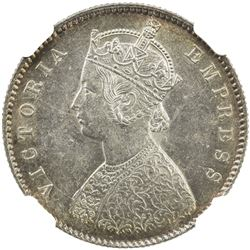 BRITISH INDIA: Victoria, Empress, 1876-1901, AR 1/2 rupee, 1894-C. NGC MS62
