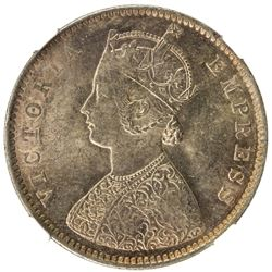 BRITISH INDIA: Victoria, Empress, 1876-1901, AR 1/2 rupee, 1899-B. NGC MS62
