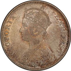 BRITISH INDIA: Victoria, Empress, 1876-1901, AR rupee, 1880(b). PCGS MS62