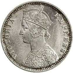BRITISH INDIA: Victoria, Empress, 1876-1901, AR rupee, 1897-C. EF