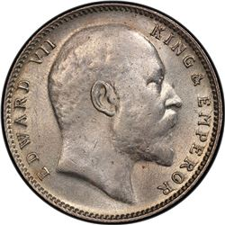 BRITISH INDIA: Edward VII, 1901-1910, AR rupee, 1910-B. PCGS MS62
