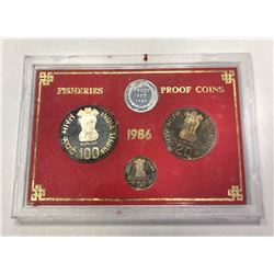 INDIA: Republic, Proof Set (3 pieces), 1986. PF