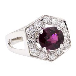 3.14 ctw Rhodolite Garnet And Diamond Ring - 14KT White Gold