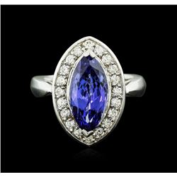 14KT White Gold 4.01 ctw Tanzanite and Diamond Ring