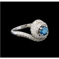 14KT White Gold 1.29 ctw Fancy Blue Diamond Ring