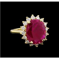 GIA Cert 5.13 ctw Ruby and Diamond Ring - 14KT Yellow Gold
