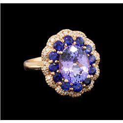 14KT Rose Gold 2.90 ctw Tanzanite, Sapphire and Diamond Ring
