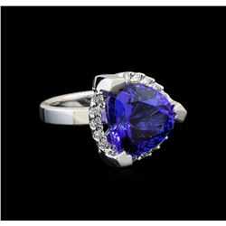 GIA Cert 8.52 ctw Tanzanite and Diamond Ring - 14KT White Gold