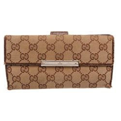 Gucci Brown GG Canvas Leather Long Wallet