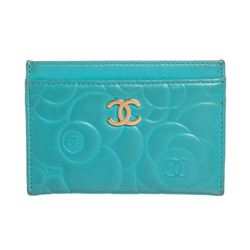 Chanel Turquoise Blue Lambskin Leather Camellia Flower Embossed Cardholder