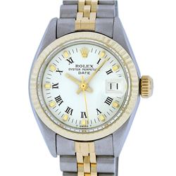 Rolex Ladies 2 Tone 14K White Index 26MM Fluted Datejust Wristwatch
