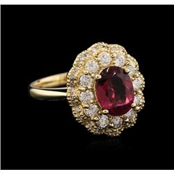 14KT Yellow Gold 1.77 ctw Tourmaline and Diamond Ring