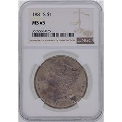 1881-S $1 Morgan Silver Dollar Coin NGC MS65 Amazing Toning