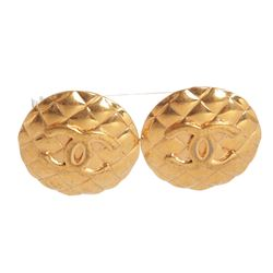 Chanel Gold CC Round Quilted Large Vintage Clip On Earrings