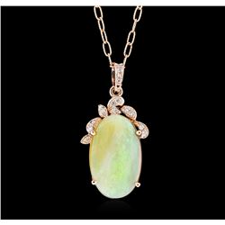 14KT Rose Gold 10.36 ctw Opal and Diamond Pendant With Chain
