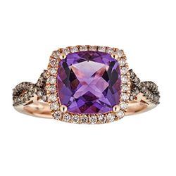2.82 ctw Amethyst, Brown Diamond and Diamond Ring - 10KT Rose Gold