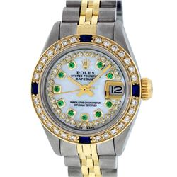 Rolex Ladies 2 Tone 14K MOP Emerald String & Sapphire Diamond  Datejust Wriswatc