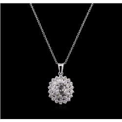 1.61 ctw Diamond Pendant With Chain - 14KT White Gold