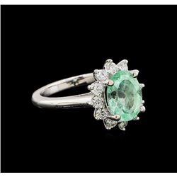 2.50 ctw Emerald and Diamond Ring - 14KT White Gold