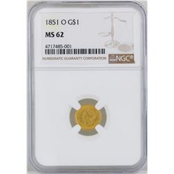 1851-O $1 Gold Coin NGC MS62