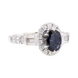 2.20 ctw Sapphire And Diamond Ring - 14KT White Gold