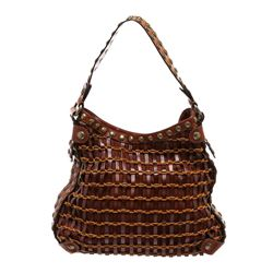 Kooba Brown Leather Rope Woven Studded Hobo Shoulder Bag